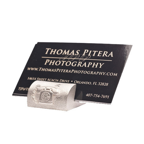 Retro Phone Pewter Business Card Holder