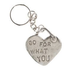 Go For What You Want Pewter Heart Key Ring