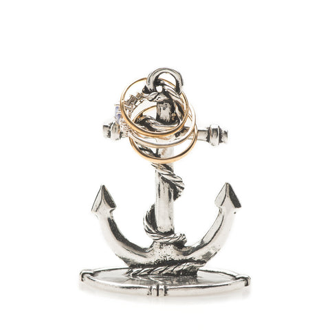 Anchor with Rope Pewter Ring Holder