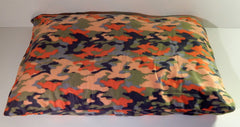Large orange green black gray camo fleece pet dog bed