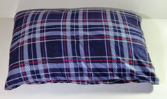 Large blue red plaid fleece dog pet bed
