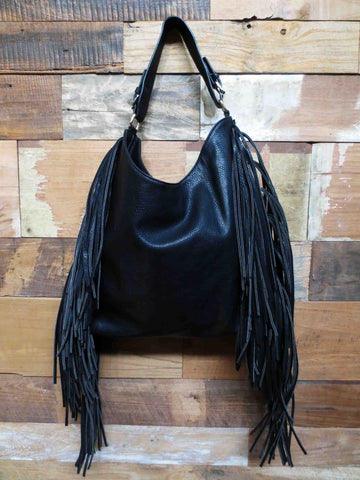 Large Fringe Bag Black