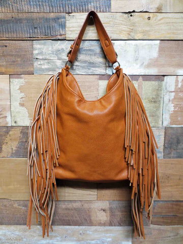 Large Fringe Bag Tan