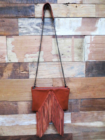 Cross Body Fringe Tan
