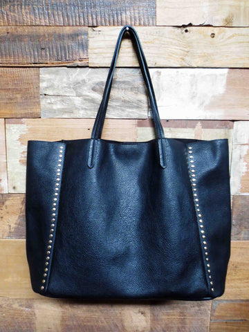 Studded  Black Tote