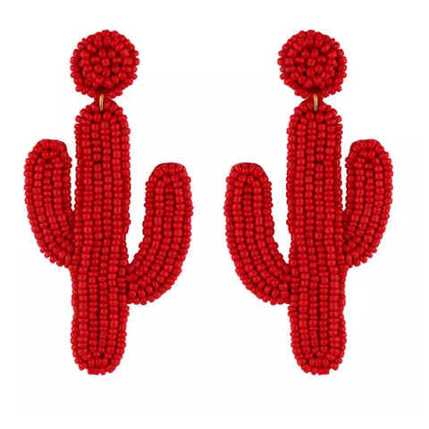 Red Cactus Earrings