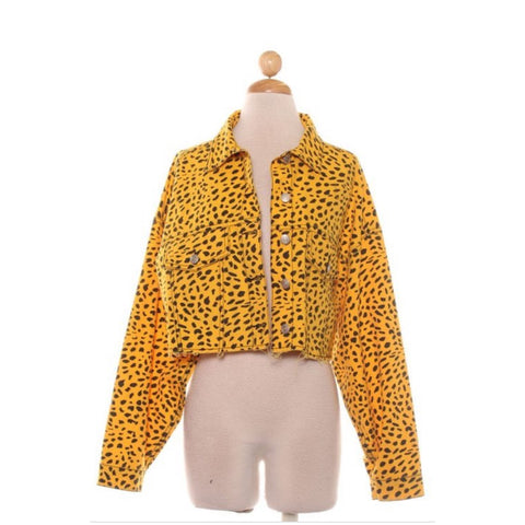 """Hi Daddy"" Denim jacket   ""yellow cheetah"""