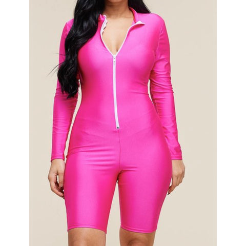 """Oh Babe"" Long Sleeve Jumpsuit shorts ""Hot Pink"""
