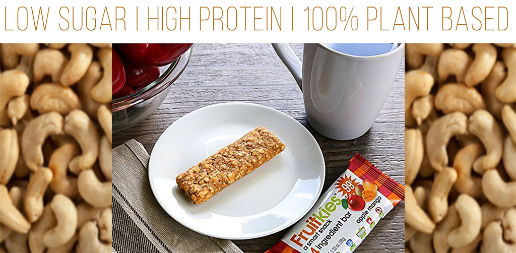 vegan protein bars made with 100% plant based materials and low in sugar