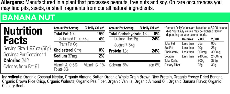 low glycemic bar banana nut sea nutritional facts
