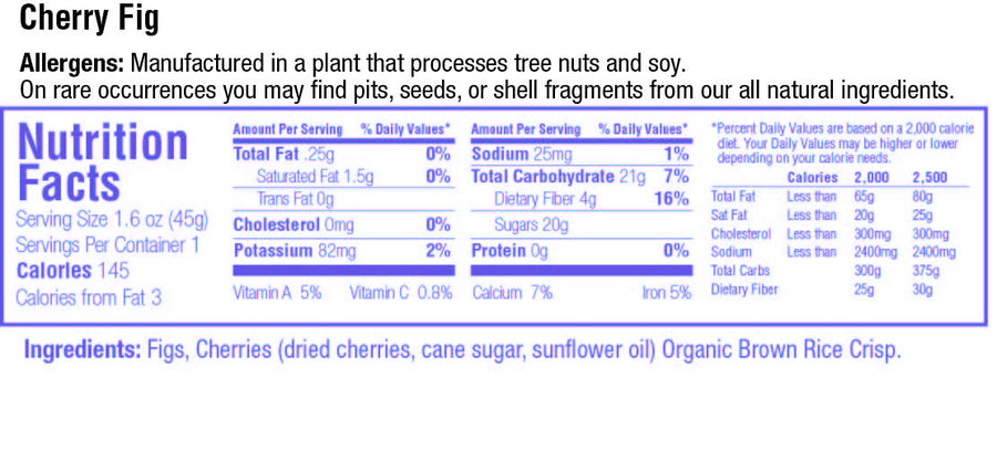 keep healthy fruitkies cherry fig snack bar