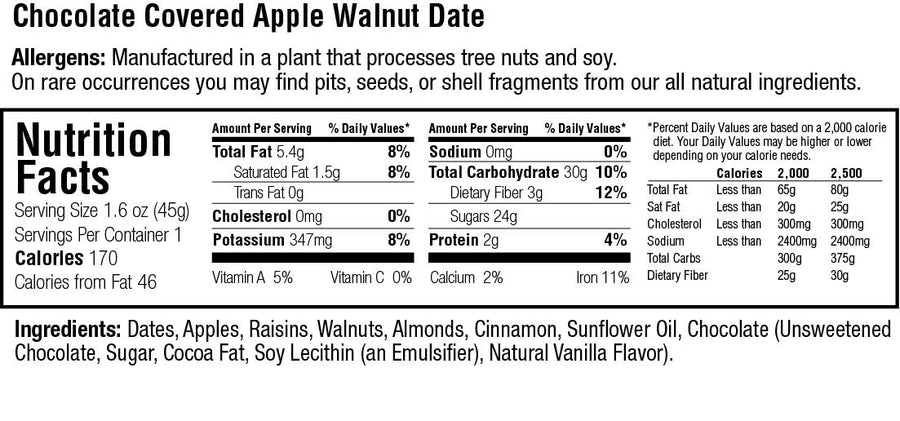 Keep Healthy Chocolate Covered Apple Walnut Date Bar