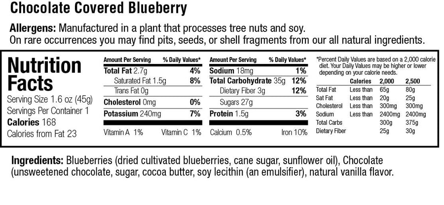 keep healthy fruitkies chocolate covered blueberries snack bar