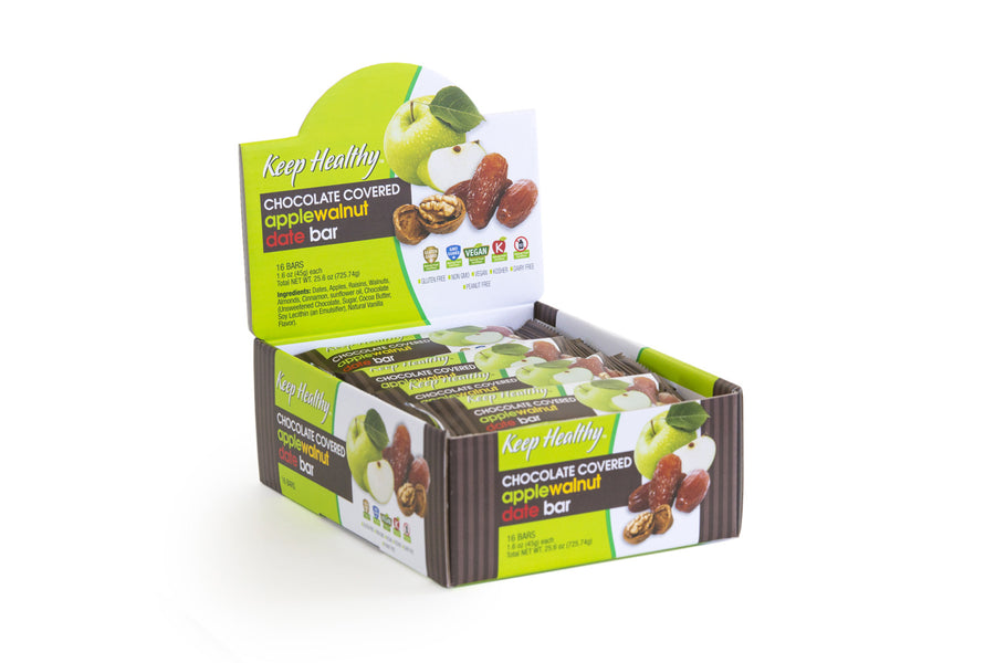 healthy snack original date bar chocolate covered apple walnut