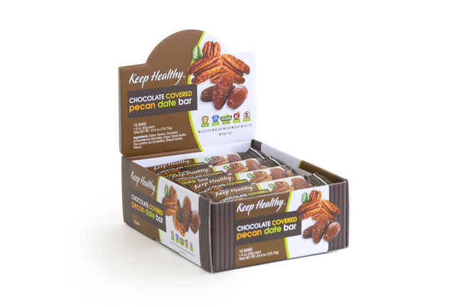 healthy snack original date bar chocolate covered pecan