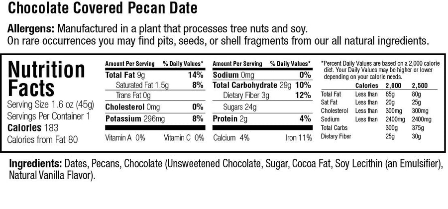 Keep Healthy Chocolate Covered Pecan Date Bar