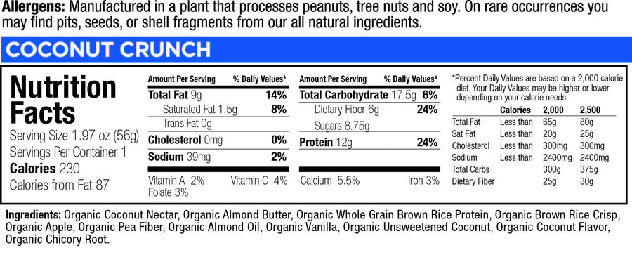 low glycemic bar coconut crunch nutritional facts