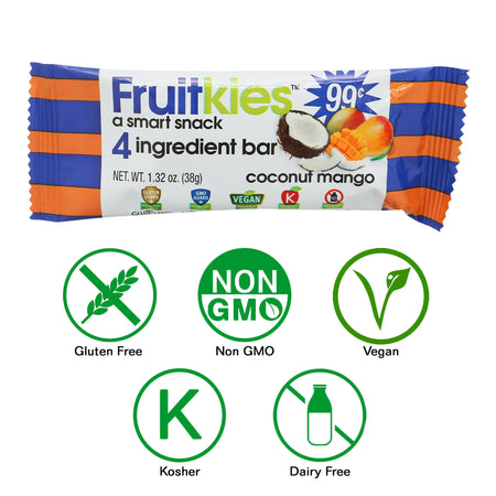 Fruitkies Coconut Mango Snack Bar 99cents  by Keep Healthy Inc