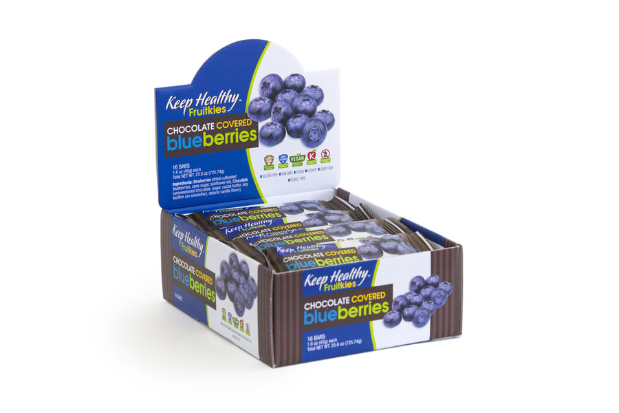 keep healthy fruitkies chocolate covered blueberries 16 bar caddy