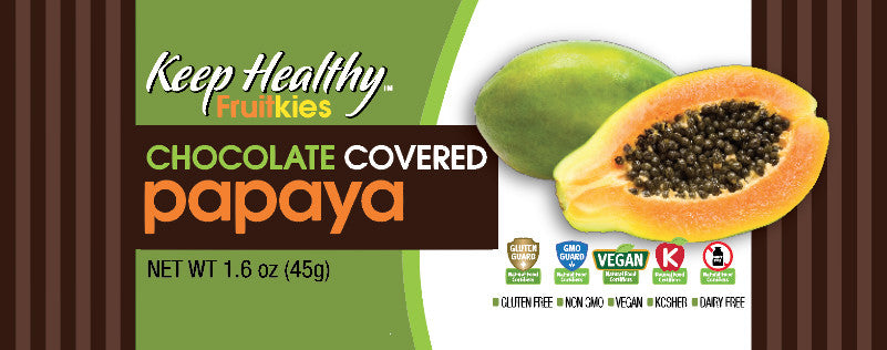 healthy snack bar fruitkies chocolate covered papaya