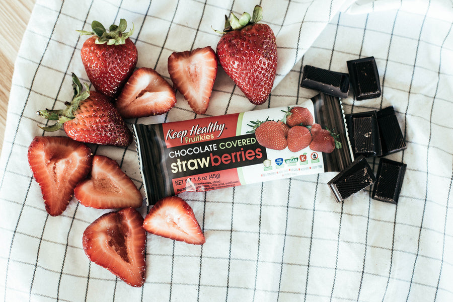 healthy snack bar fruitkies chocolate covered strawberrries
