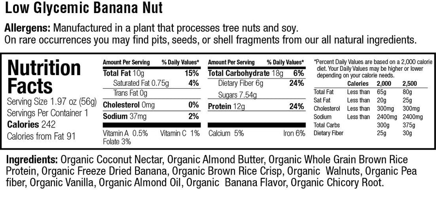 Organic Low Glycemic 12g. Protein Banana Nut Bar