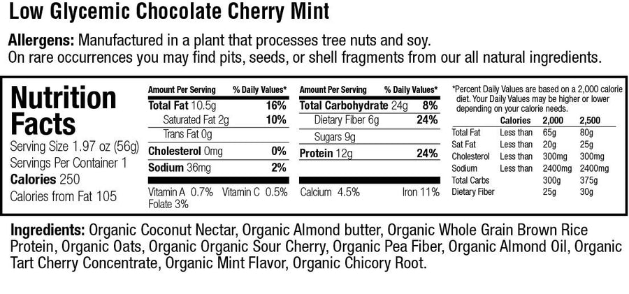 Organic Low Glycemic 12g. Protein Chocolate Cherry Mint Bar