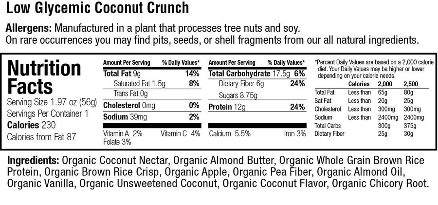 Organic Low Glycemic 12g. Protein Coconut Crunch Bar