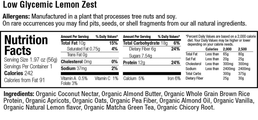 Organic Low Glycemic 12g. Protein Lemon Zest Bar