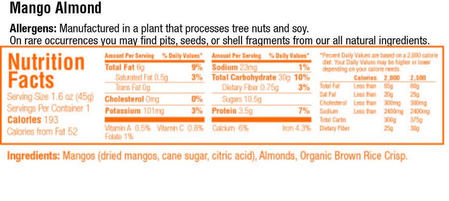 keep healthy fruitkies mango almond snack bar