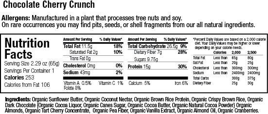 Organic 15g. Protein Chocolate Cherry Crunch Bar