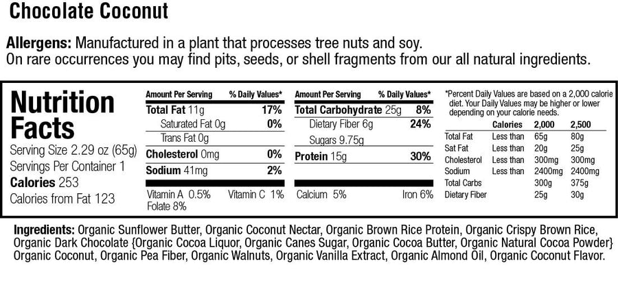 Organic 15g. Protein Chocolate Coconut Bar
