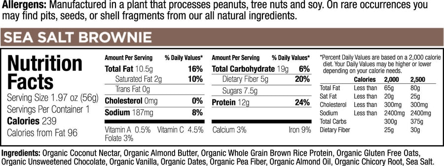 low glycemic bar sea salt brownie nutritional facts