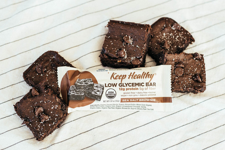 Low Glycemic Protein Bar no sugar alcohols sea salt brownie