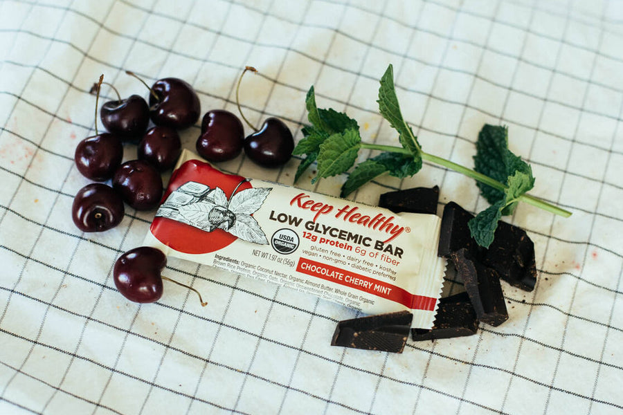 Low Glycemic Protein Bar no sugar alcohols chocolate cherry mint