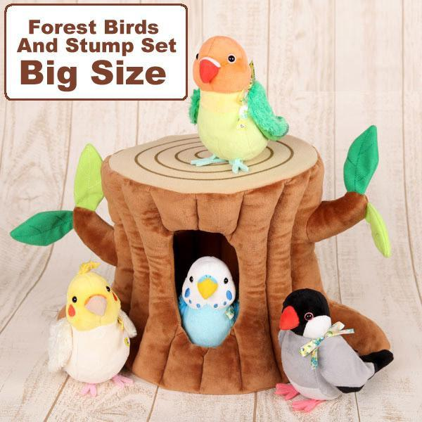 Forest Birds And Stump Big Size Plush Set (Budgerigar / Cockatiel / Cockatoo/ Sparrow / Stump) - Hamee - 1