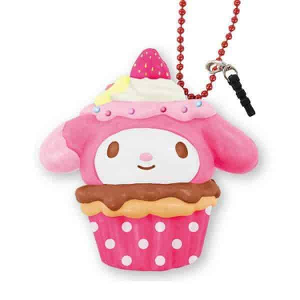 Sanrio Squishy Cupcake Ball Chain and Earphone Jack Accessory (My Melody / Chocolate Berry) - Hamee - 1