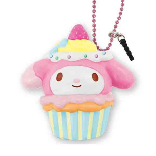 Sanrio Squishy Cupcake Ball Chain and Earphone Jack Accessory (My Melody / Strawberry Cheesecake) - Hamee