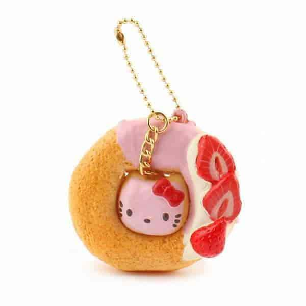 Sanrio Hello Kitty Squishy Lovely Sweets Series Lovely Doughnut Ball Chain (Plain) - Hamee