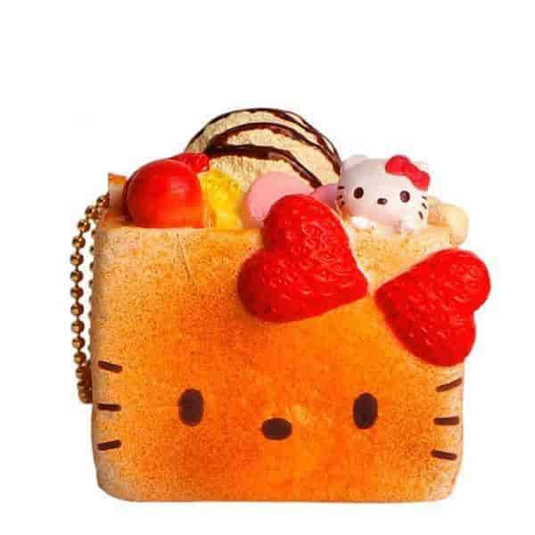Sanrio Hello Kitty Squishy Lovely Sweets Series Brick Toast Ball Chain - Hamee - 2