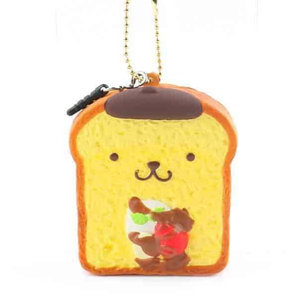 Sanrio Pompompurin Ball Chain and Earphone Jack Accessory (French Toast / Plain) - Hamee