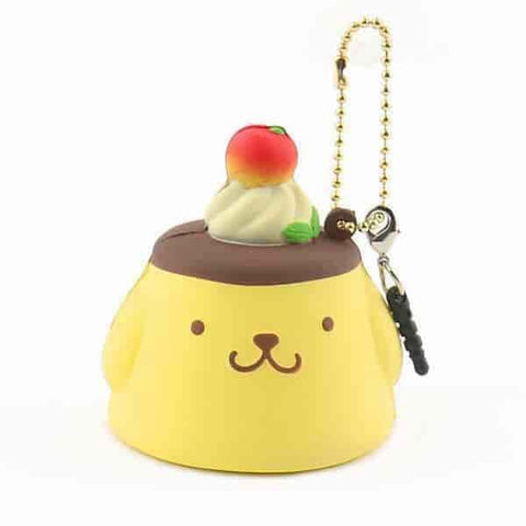 Sanrio Pompompurin Ball Chain and Earphone Jack Accessory (Pudding / Plain)