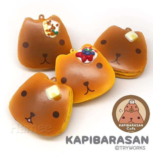 Kapibarasan Squishy Ball Chain Pancakes Set (x 4 Pieces) - Hamee US