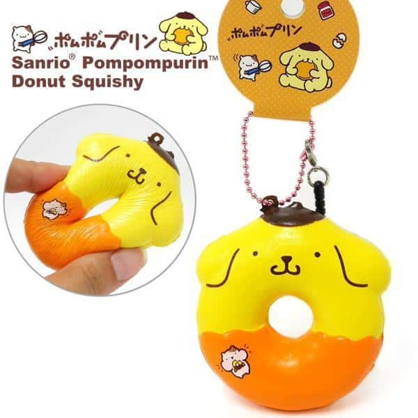 Sanrio Pompompurin Squishy Donut Ball Chain with Earphone Jack Accessory (Cinnamon) - Hamee - 1