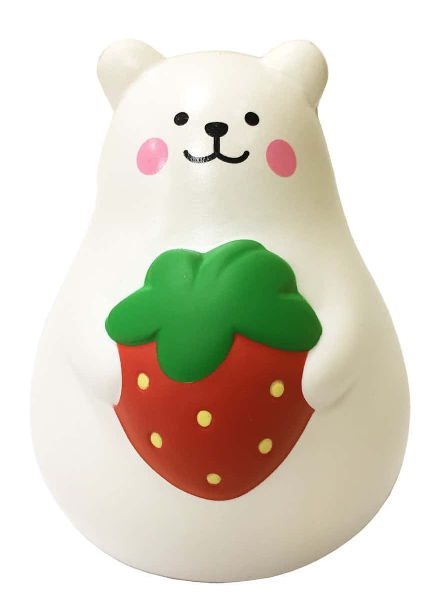 [Genuine] iBloom Marshmallow (Bear Mr. White Strawberry) Scented Slow Rising Animal Squishy (Red/Pink) (Regular Size) - Hamee US