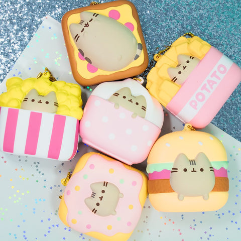 [Genuine] Pusheen Licensed Food Squishy (Hamburger - Square) - Hamee.com