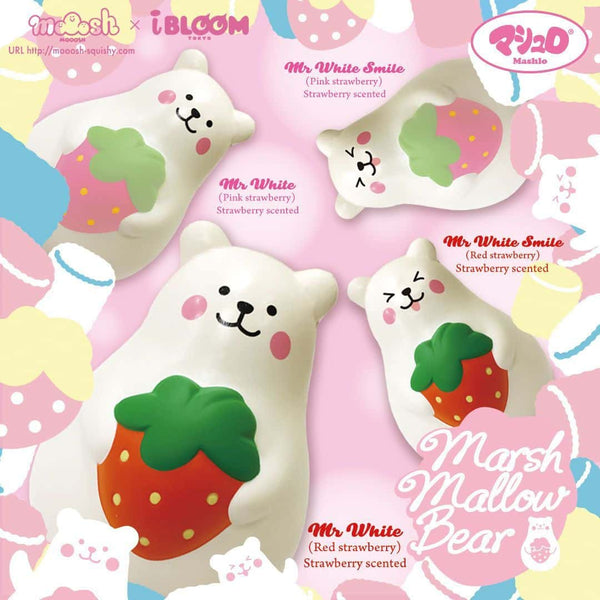 [Genuine] iBloom Marshmallow Bear Mr. White Strawberry Scented Slow Rising Animal Squishy (Red/Pink) (Regular Size) - Hamee US