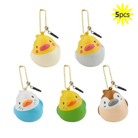 Peepers Round Bird Squishy Keychain Collector's [SET] 5 pcs - Hamee.com