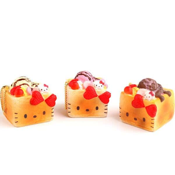 Sanrio Hello Kitty Squishy Lovely Sweets Series Brick Toast Ball Chain - Hamee - 1