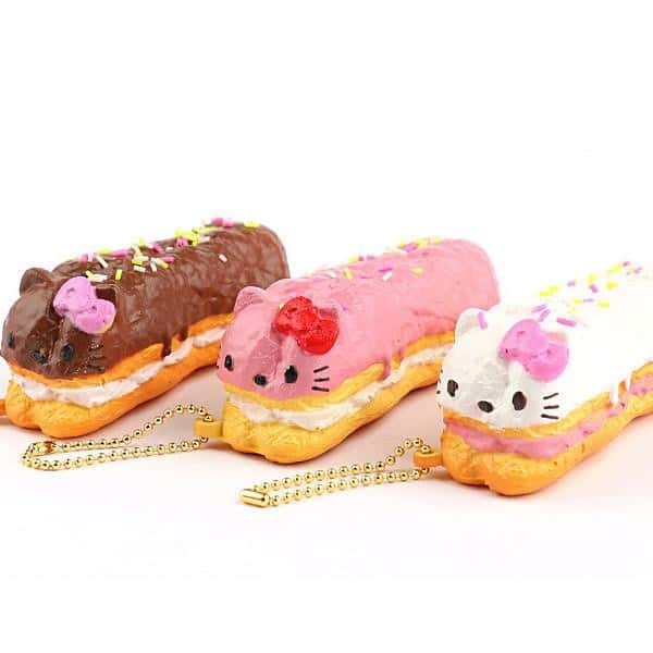 Sanrio Hello Kitty Squishy Lovely Sweets Series Eclair Ball Chain - Hamee - 1
